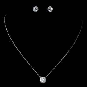 CZ Pave Pendent Necklace Round Soaltaire Stud Earrings
