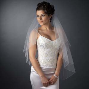 Double Layer Veil With Bugle Bead Edge