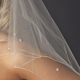 Double Tier Bridal Veil with Swarovski & Pearl Flower Accents & Pencil Edge