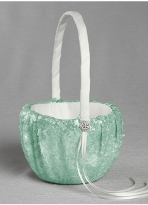 Elsa Matte Sequin Flower Girl Basket