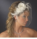 Feather Fascinator and Birdcage Face Veil Comb