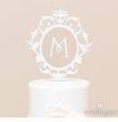 Floating Monogram White Cake Topper