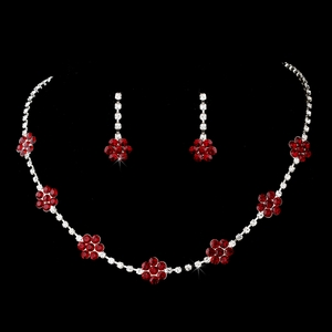 Floral Burgundy Rhinestone Necklace Set