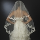 Floral Embroidered Double Layer Edge Veil Fingertip Waltz Length Veil