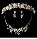 Gold Champagne Pearl, Swarovski Crystal Bead and Rhinestone Ceramic Flower Tiara Jewelry Set