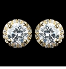 Gold Clear CZ Rondelle Round Stud Earrings
