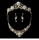 Gold Freshwater Pearl, Swarovski Crystal Bead and Rhinestone Tiara Headpiece Set