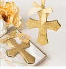 Gold Glitter Design Cross Ornament