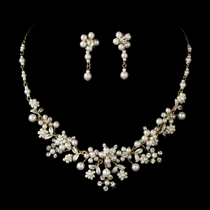 Gold Ivory Pearl Bridal Jewelry Set