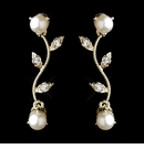 Gold Ivory Pearl & Clear Round CZ Crystal Vine Drop Earrings