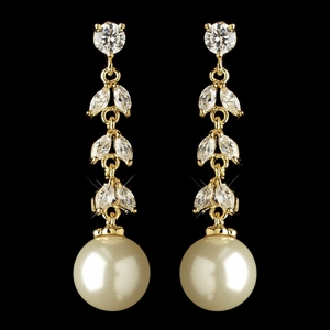 Gold Ivory Pearl & CZ Crystal Dangle Earrings