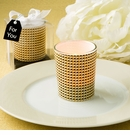 Gold Modern Graphic Design Glass Candle Votive Holder