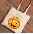 Halloween Girl Pumpkin Trick or Treat Canvas Bag
