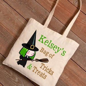 Halloween Witches Broom Trick-or-Treat Canvas Bag