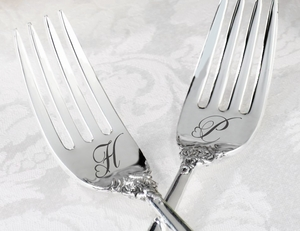 Heart Monogram Silver Plated Forks Set of 2