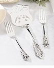 Heart Monogram Silver Server & Two Forks Set
