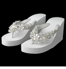 High Wedge Bridal Flip Flops with Crystal & Freshwater Coin Pearl Accents