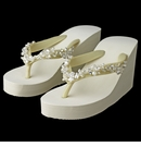 High Wedge Flip Flops with Crystal & Freshwater Pearl Accents