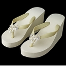 High Wedge Flip Flops with Rhinestone & Freshwater Pearl Leaf Accents
