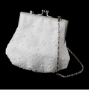 Ivory Floral Lace Bridal Purse with Pearl Accents in Silver