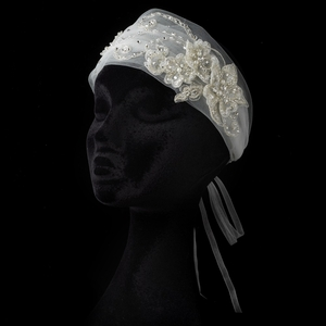 Ivory Floral Lace Tulle Ribbon Headband