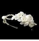 Ivory Floral Side Accented Bridal Headband in Silver