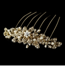 Ivory Pearl & Clear Rhinestone Hair Comb in Gold