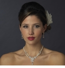 Ivory Pearl & Floral CZ Necklace & Earrings Bridal Jewelry Set