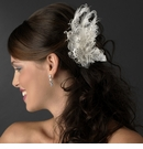 Ivory Silver Clear Bridal Clip