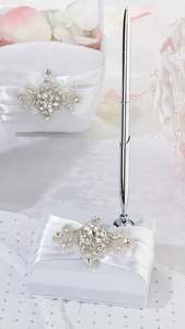 Jeweled Motif Guest Book Pen Set
