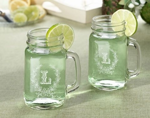 Leaf Monogram Set of 2 Mason Jar Mugs