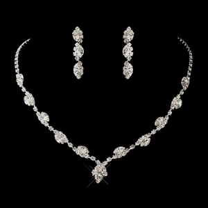 Marquise & Round Rhinestones Necklace & Earrings