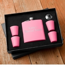 Matte Pink Flask & Shot Glass Gift Box Set