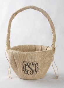 Monogram Printed Burlap Basket