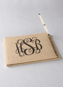 Monogram Printed Burlap Guest Book w/Pen