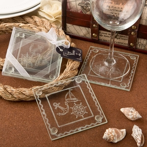 Nautical Themed Clear Glass Set Of 2 Glass Coasters