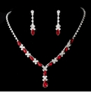 Necklace Earring Set Silver Red