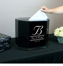 Octagon Black Painted Signature Wedding Card Box