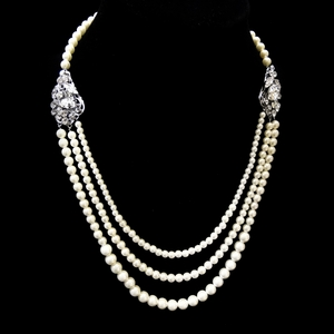 Old Hollywood Glam 3 Rows Ivory Pearl Necklace