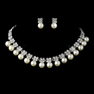 Pearl & Flower Rhinestone Necklace & Earrings