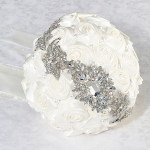 Pearl & Rhinestone Wedding Bouquet - Cream
