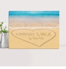 Personalized Caribbean Sea with Heart Couples Canvas Print