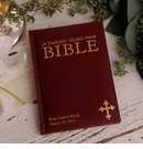 Personalized Maroon Laser Engraved Catholic Child's First Bible Medium