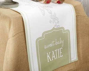 Personalized Rustic Themed Baby Table Runner