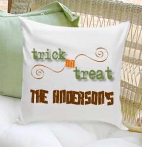 Personalized Trick or Treat Halloween Throw Pillow