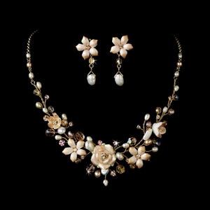 Pink Porcelain Floral Necklace Earrings Set