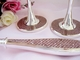Pink Rhinestone & Glitter Flutes And Cake Server Set