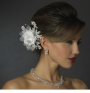 Rhinestone Crystal & Lace Satin Flower Bridal Hair Clip