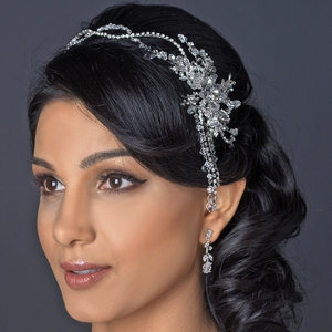 Rhodium Clear Rhinestone Side Accented Dangle Hair Vine Headband