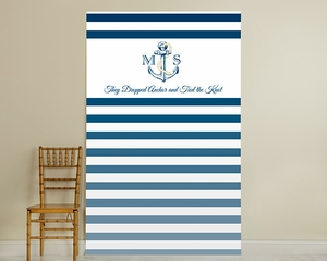 Royal Blue Striped Anchor Wedding Backdrop
